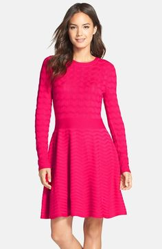 Free shipping and returns on Eliza J Chevron Fit & Flare Sweater Dress at Nordstrom.com. A multi-width chevron knit detailed with delicate pointelle stitching brings cozy yet lightweight comfort to a sweater-dress finished with a swingy scalloped skirt.