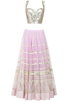 Purple pink embroidered lehenga with silver gota blouse available only at Pernia's Pop-Up Shop