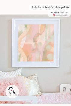 Bubbles & Tea | lovely, soft pastel girly abstract painting | millennial art | pink peach green colour palette | interior decor | girl's room | BlushBird |  www.blushbird.com | Renée Palette, Girly, Artist Signatures, Bubble Tea, Affordable Art, Pastel Pink, Decoration, Mint Green, Abstract Art