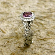 Hand Crafted Square Cushion Cut Purple by AdziasJewelryAtelier, $3740.00