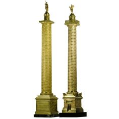Why talented Prussian founders Hopfgarten & Jollage moved to Rome in the first part of the 19th century is, as yet, unknown. However, their accomplished work with bronze souvenir and architectural models was much remarked on at the time. These gilded bronze replicas of Trajan's and the Antonine Column join a list of models including obelisks, the Arch of Constantine, and Marcus Aurelius Equestrian Monument in the Campidoglio.