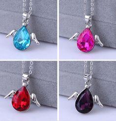 Moda para mujer artículos de joyería collar cristal noble cadena de clavícula corto párrafo del ala del ángel colgante de joyería moda