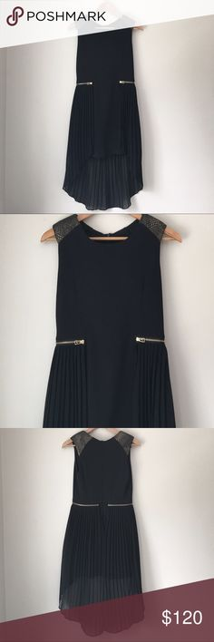 THE CUE by Cher Qu Black Pleated Evening Dress Stunning black Sleeveless Pleated gold Zipper dress by Cher Qu's THE CUE. Rear zip. Size Small. EUC. THE CUE Dresses