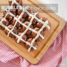 Hot Choc Buns   What you'll need: • 2 x 7g sachets dry yeast • 300ml milk, warmed • 3¾ cups plain flour • ¼ cup Dutch cocoa • 1 teaspoon ground cinnamon, plus ½ teaspoon extra • 90g butter, chopped, at room temperature • ¾ cup dark choc bits • ¼ cup caster sugar, plus ¼ cup extra • 1 egg • ¼ cup sparkling water. CROSSES: • ½ cup plain flour • 1/3 cup water. Steps can be found by clicking on image link. Ground Cinnamon, 1 Egg, Dry Yeast, Cocoa, Cherry, Bubbles, Image Link, Yummy Food, Canning