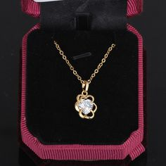 45.5cm Flower Pendant Inlay Heart Shape Zircon 18K Gold Plated Copper Necklace
