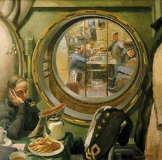 S-Class Submarine:The Wardroom and Forward Mess Deck Seen through the Davis Escape Chamber, 1945 by Stephen Bone (1904–1958) ~ BFD