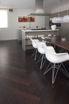 Ideas Kitchen Dark Tile Floor Products For 2019 Wide Plank Flooring, Engineered Hardwood Flooring, Wooden Flooring, Dark Tile Floors, Real Wood Floors, Installing Hardwood Floors, Living Room Interior, Home And Living, House Styles