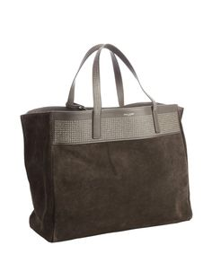 Saint Laurent earth colored studded suede large shopper tote with pouchette