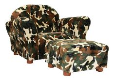 Chair And Ottoman Set Kids Furniture Toddler Living Room Play Camo Novelty Boys