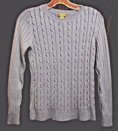 White Stag Size Small Long Sl. Blue Cable-stitch Sweater Round Neck Acrylic   #WhiteStag #Cardigan