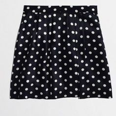 Factory Printed Pleated Polka Dot Skirt Polka dot printed dark blue and white skirt that sits at the waist and zips up the side. Super cute for spring and summer! Only worn once and in good condition! J.Crew Factory Skirts