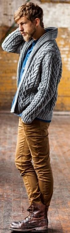 Blue knitted Cardigan Men s Winter Fashion Outfits 2126284807
