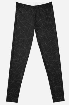 Elegant White and grey geometric mesh Leggings by #PLdesign #geometric #modern #abstract