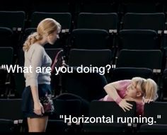 """my cross country coach wont let us do horizontal running no matter how many times me and my friends ask..........  we're all like, """"aca-scuse me?"""" then im like, """"aca- akward.."""""""