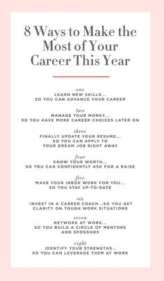 8 Ways to Make the Most of Your Career This Year. Consider this list a jetpack for your career—and salary. Consider this list a jetpack for your career—and salary. Career Choices, Job Career, Career Planning, Career Success, Career Change, Career Goals, Career Advice, Career Quiz, Dream Career