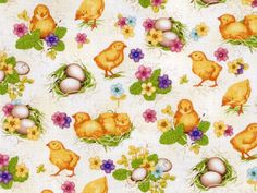 Easter fabric - spring chicks