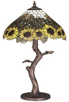 """Wild Tiffany Sunflower 23.5"""" H Table Lamp with Bowl Shade"""