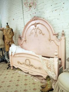 Painted Cottage Romance Queen Shabby Pink Bed, love also the green wall, the pink lamp...