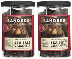 Sanders Dark Chocolate Sea Salt Caramels - 36 Ounce each Container - (SUPER VALUE 2 Pack): Due to the warm weather in parts of the US, we offer a warm weather shipping option for chocolates via standard shipping Chocolate Covered Caramel Recipe, Salted Caramel Bars, Chocolate Rocks, Sea Salt Caramel, Caramel Candy, Salted Chocolate, Caramel Recipes, Melting Chocolate, Chocolate Recipes