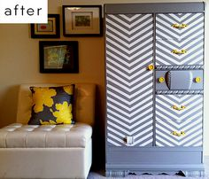 Um, chevrons on a wardrobe?? Yes please!!! Oh and the yellow knobs are like a cherry on top!