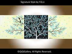 "***TITLE: ""Life Is Beautiful II""  ***SIZE: 3 x 12"" x 12"" x 0.8"" (total size: 36"" x 12"")  ***THEME: Love birds on tree branches. ***MEDIUM:"