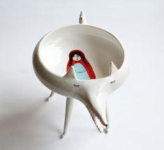 Ceramics by Marta Turowska - little red riding hood and big bad wolf - fairy tale Ceramic Clay, Ceramic Bowls, Ceramic Pottery, Stoneware, Nanu Nana, Cerámica Ideas, Red Riding Hood, Little Red, Clay Art
