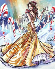 I wanted to wait but I can't. I'm gonna be doing a theme now. My theme is Candy Cane Christmas. Disney Artwork, Disney Fan Art, Disney Drawings, Disney Love, Fera Disney, Arte Disney, Disney Magic, Disney Princess Fashion, Disney Princess Art