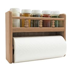 Teak Paper Towel Holder with Spice Rack organizes your boat galley with the beauty of Teak. This Teak rack holds a standard paper towel roll and five standard spice bottles. Spice Rack Organization, Wall Organization, Spice Rack And Paper Towel Holder, Towel Holders, Spice Racks, Roll Holder, Kitchen Paper Towel, Spice Bottles, Paper Towel Rolls