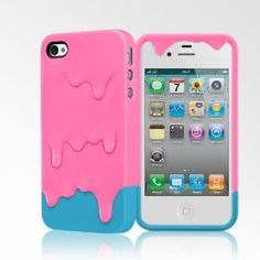 Melt Case for iPhone 4/4S - Pink/Blue  by SwitchEasy. It's like your iPhone is an ice cream sandwich and it's melting, in to a rainbow of vibrant colors. Seriously real deserts don't look this yummy. It comes in really cute contrasting vibrant colors and certainly is for the girl who wants something bold. Works with your Apple iPhone 4 and iPhone 4S.