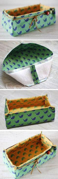Fabric Basket Tutorial Fabric Storage Box. DIY tutorial in pictures. http://www.handmadiya.com/2015/10/fabric-basket-tutorial.html