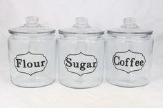 Flour Sugar Coffee CANISTER SET Glass Vintage Look Vinyl Labels  #Unbranded