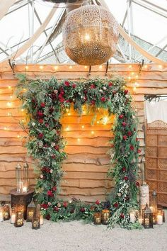 18 Whimsical Winter Wedding Arches and Backdrops - Oh Best Day Ever Christmas themed winter wedding backdrop decoration ideas. Christmas Wedding Decorations, Winter Wedding Centerpieces, Floral Wedding Decorations, Backdrop Decorations, Christmas Themes, Christmas Arch, Magical Christmas, Vintage Christmas Wedding, Xmas Wedding Ideas