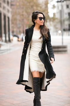 High low peacoat with a lace dress and thigh high boots!