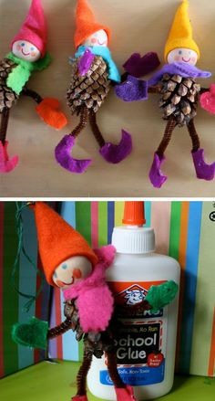 Pine Cone Elves | 20+ DIY Christmas Crafts for Kids to Make                                                                                                                                                                                 More