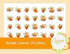 Autumn Leaves Stickers Fall Planner Stickers by OrangeKiwiDesign Printable Stickers, Printable Planner, Planner Stickers, Printables, Happy Planner, Kiwi, Autumn Leaves, Make It Yourself, Orange