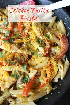 Chicken Fajita Pasta has quickly turned into our family favorite recipe. Full of flavor with peppers and onions, with a creamy sauce covered in noodles.