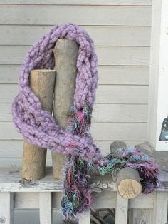 Thick and Thin Textured Pull-Through Scarf by WarmButterfly