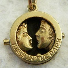 "Vintage mechanical ""Kiss in the Dark"" charm ~ A Genuine Find"