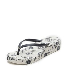 44ef151997b62 Tory Burch Thandie Wedge Flip Flops ( 65) ❤ liked on Polyvore featuring  shoes