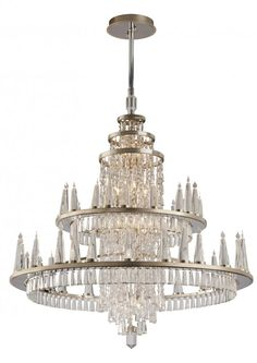 Sixty Light Silver Leaf Finish W/polished Stainless Accents Up Chandelier : 170-012 | Suffolk Designer Lighting