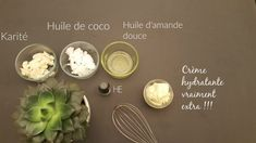 Les ingrédients de la recette de la crème hydratante Creme Visage Bio, Diy Beauty, Beauty Hacks, Brulee Recipe, Beauty And The Best, Homemade Skin Care, Green Life, Coco, Health