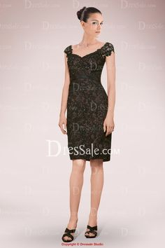 Exquisite Knee-length Sheath Mother of Bride Dress Featuring Lace Overlay and Beaded Motifs