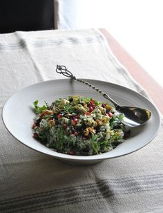 Behind-the-scenes snaps from my cookbook's shoot: Herb and Rice Salad with Feta, Walnuts and Broccoli Crumbs, ready for shooting. #vegetarian #salads