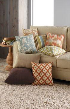 Brown leather couch pillows for brown couch brown couch pillows large brown couch pillows brown leather couch blue pillows decorating brown gray pillows Beige Couch, Brown Couch Pillows, Sofa Throw Pillows, Couch Sofa, Green Pillows, Colorful Pillows, Accent Pillows, Beige Living Rooms, Living Room Trends