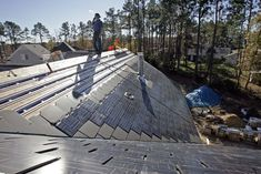 """SolarCity and Tesla have teamed up to bring us an all new solar panel.""""It's a solar roof, as opposed to modules on a roof,"""" says Musk, as he reveals his strategy to further enhance many Solar Energy Panels, Best Solar Panels, Solar Energy System, Solar Roof Tiles, Tesla Motors, Passive Solar, Solar House, Solar Panel Installation, Solar Charger"""
