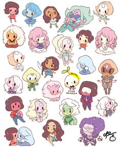 26 steven universe gem stickers + 5 bonus crying breakfast friends + treesa = 31 stickers!!  stickers are precut and each stickers is approx. 1-2 inches  choose between glossy, clear and matte paper!! tell me what paper you want for the breakfast friends if you order them only :)