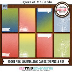 Layers of Me Journaling Cards by Our Misadventures | These eight 4x6 journaling cards coordinate with the July 2014 Mini-Os, perfect for pocket scrapping!