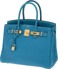 Hermes 30cm Blue Jean Togo Leather Birkin Bag with Gold Hardware