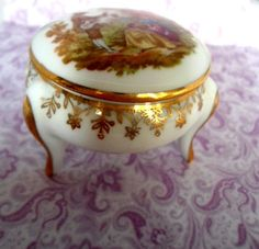 Vintage French Romantic Jewelry Trinket Box Gold by Auntiemollys