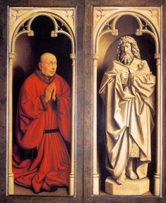 Hubert and Jan van EYCK / The Ghent Altarpiece with wings closed (lower section) / Donor and St John the Baptist  1432  Oil on wood  Cathedral of St Bavo, Ghent